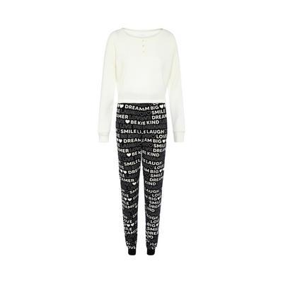 Black/White Script Print Cozy Knit Pajama Set