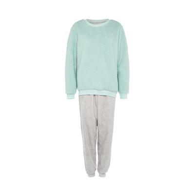 Mint and Gray Fleece Pajama Set