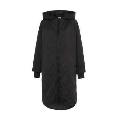 Schwarze Oversized-Jacke mit Rautensteppung