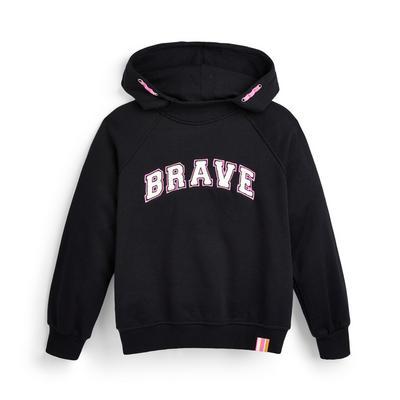 Zwarte hoodie met tekst en hoge hals voor meisjes