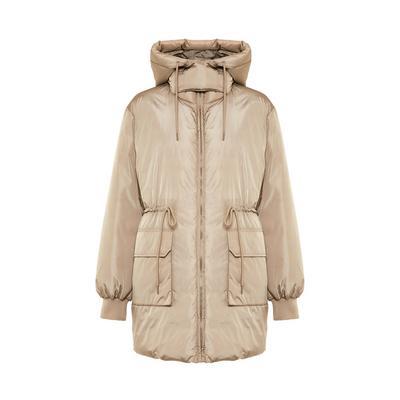 Abrigo acolchado extragrande con cordón de ajuste marrón topo