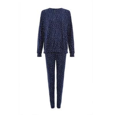 Pijama azul marino suave de lunares