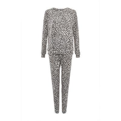 Gray Leopard Print Soft Touch Pajama Set