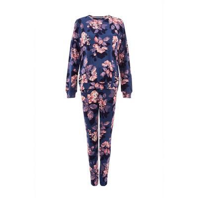 Purple Floral Print Soft Touch Pajama Set