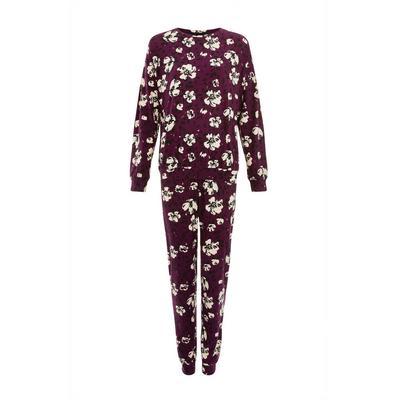 Pijama burdeos suave con estampado floral
