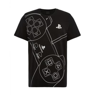 Camiseta negra con estampado de mando de PlayStation