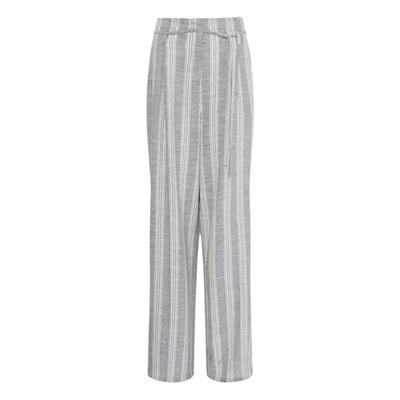Grey Natural Stripe Wide Leg Trousers