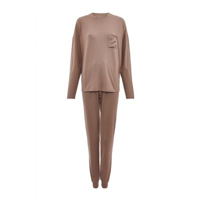 Brown Soft Touch Ribbed Pajama Set