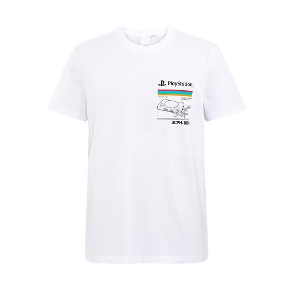 White PlayStation Print T-Shirt