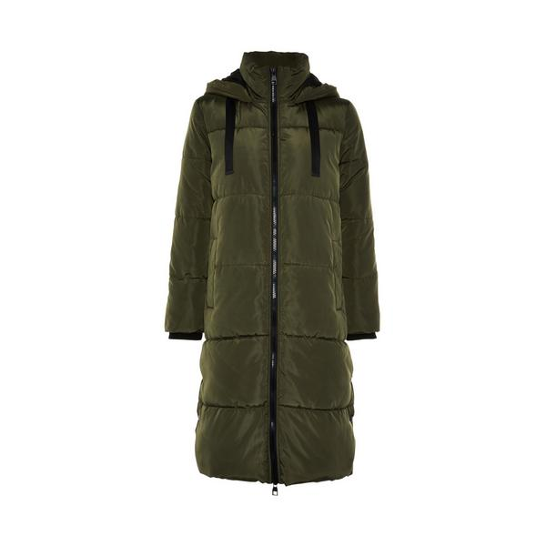 Olive Contrast Trim Longline Padded Coat