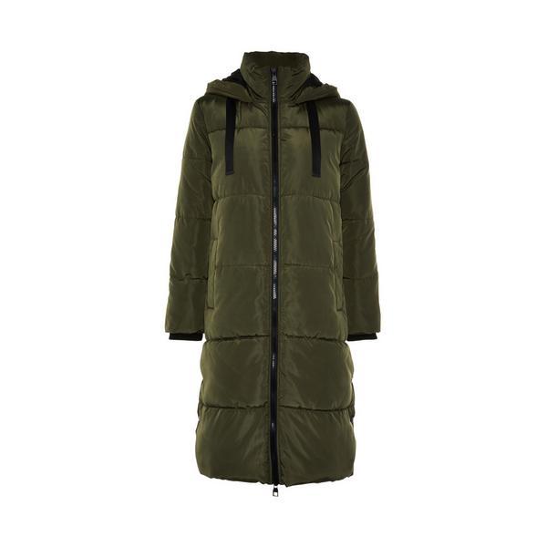 Manteau kaki long matelassé à bords contrastés