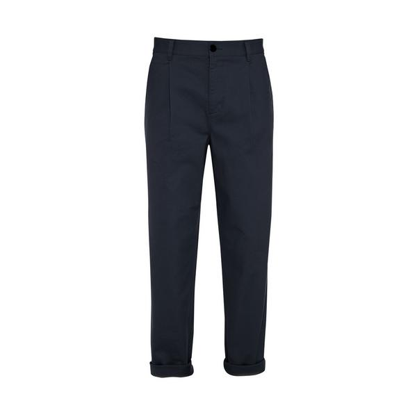 Navy Relaxed Stronghold Pleated Chinos