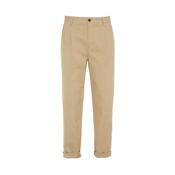 Beige Relaxed Stronghold Pleated Chinos