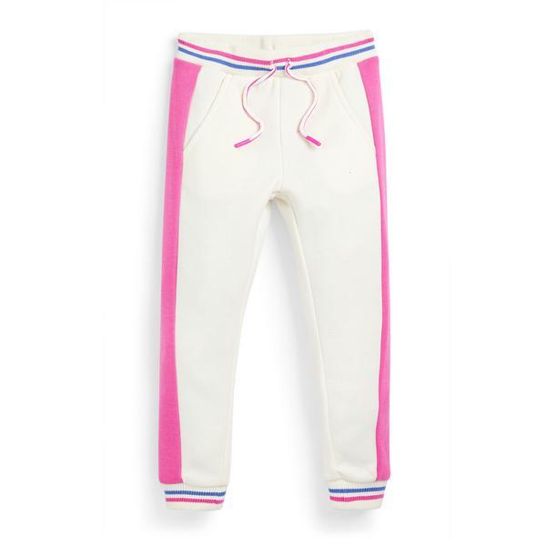 Witte joggingbroek met zijstreep voor meisjes