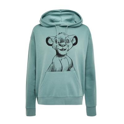 Sweat à capuche turquoise avec col large et imprimé Le Roi lion Simba