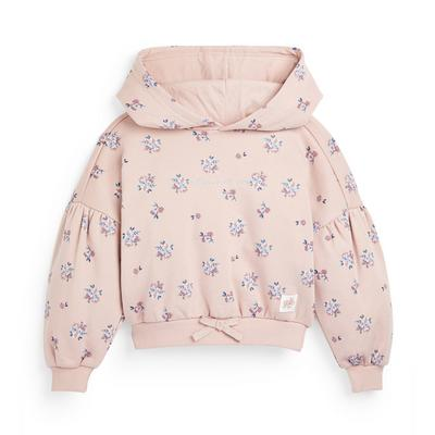 Younger Girl Pink Floral Print Balloon Sleeve Hoodie