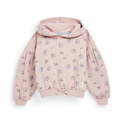 Younger Girl Pink Floral Print Hoodie
