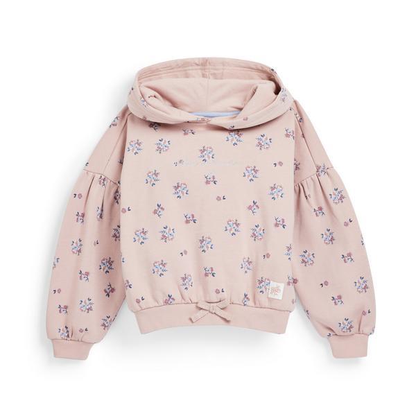 Roze hoodie met bloemenprint voor meisjes
