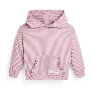 Younger Girl Pink Waffle Ribbed Hoodie