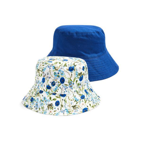 Blue Floral Print Reversible Bucket Hat
