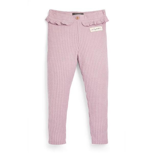 Younger Girl Pink Waffle Ribbed Leggings