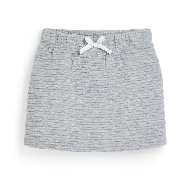Grijze doorgestikte rok voor meisjes