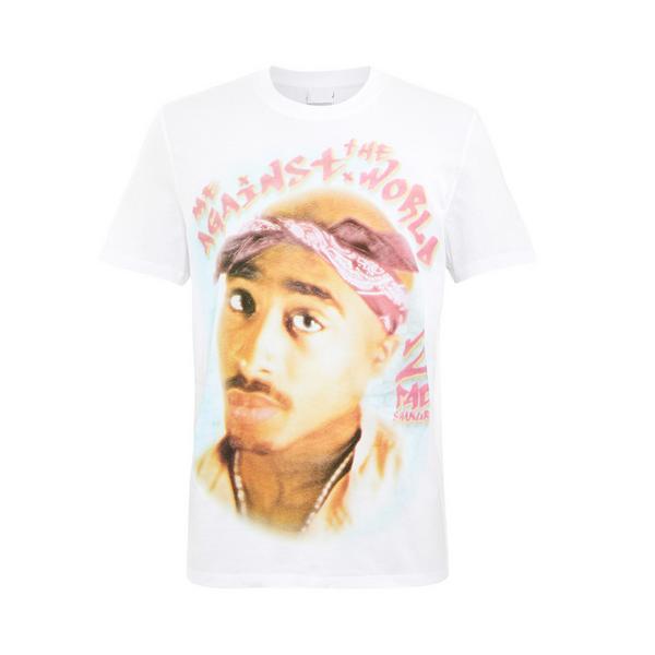 T-shirt bianca con stampa Tupac