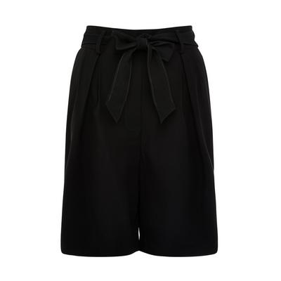 Black Relaxed Fit Belted Shorts
