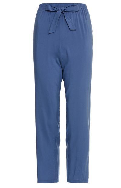 Blue Viscose Tie Waist Joggers