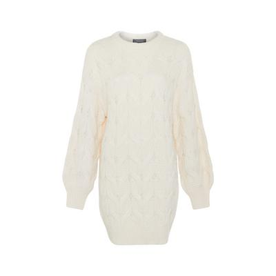 Ivory Cable Knit Crew Neck Sweater Dress