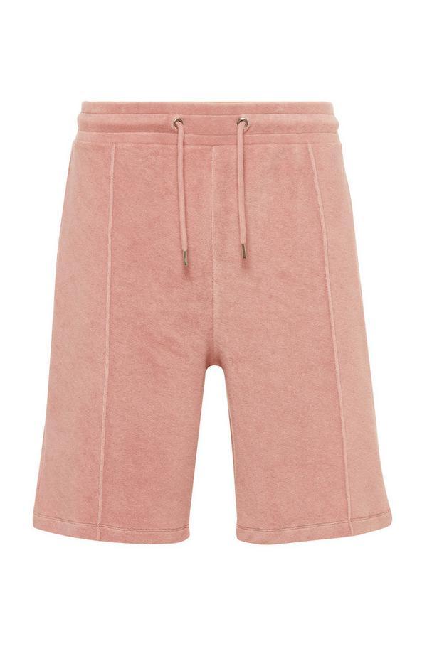 Calções cordões cintura tecido turco Kem cor-de-rosa