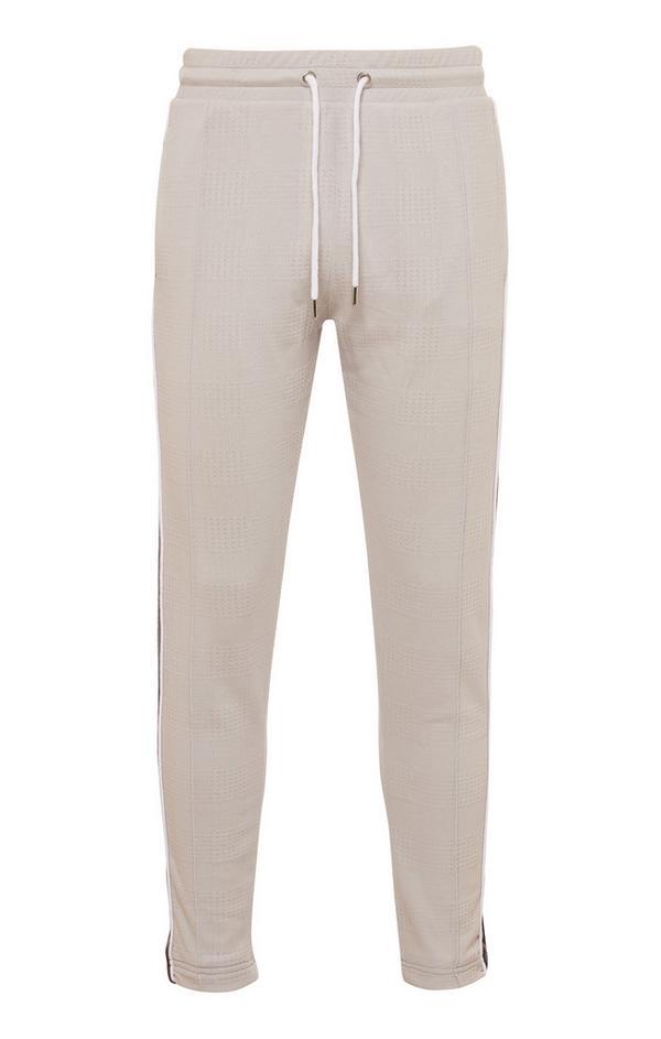 Pantalón de chándal jacquard Kem marrón topo con cordón de ajuste