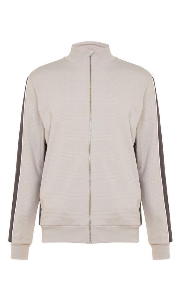 Kem Taupe Jacquard Zip Up Jacket