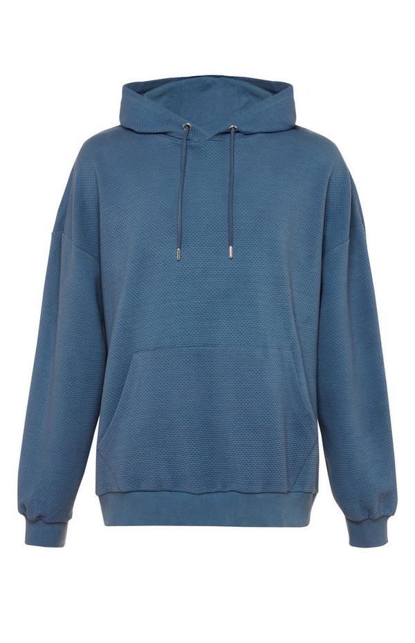 Sweat à capuche bleu marine effet gaufré à col large Kem
