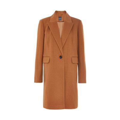 Abrigo básico largo marrón cruzado