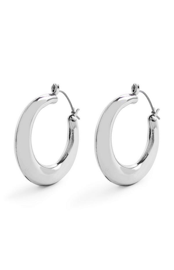 Silvertone Chunky Tubular Hinge Earrings
