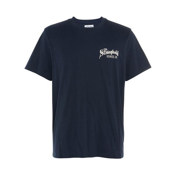"Marineblaues ""Stronghold"" T-Shirt mit Print"