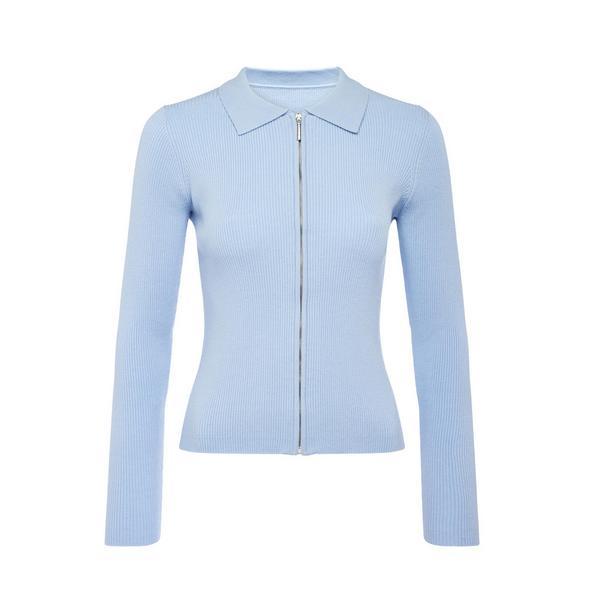 Blue Zip Through Cardigan