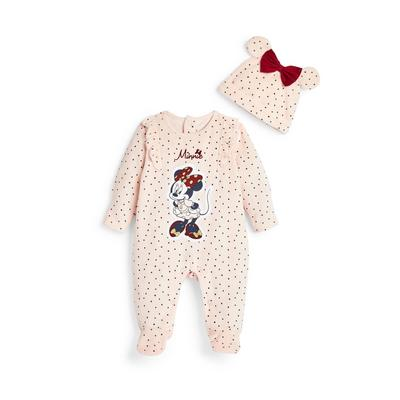 Newborn Baby Girl Pink Disney Minnie Mouse Sleepsuit Set
