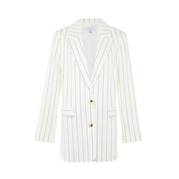 White Pinstripe Suit Blazer