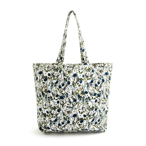 Cabas bleu en toile à imprimé fleuri Gardeners World