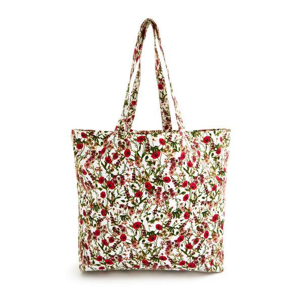 Canvas draagtas Gardeners World met rode bloemenprint