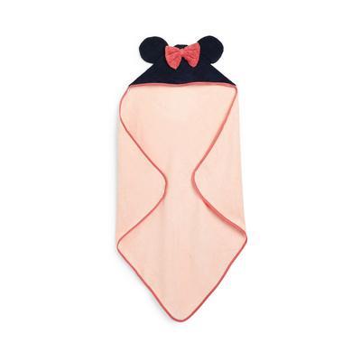 Roze babyhanddoek Disney Minnie Mouse met capuchon voor pasgeboren meisjes
