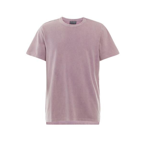 T-shirt viola squadrata con lavaggio acido