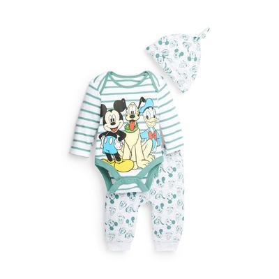 Newborn Baby Boy Green Disney Pluto Print Set 3 Piece