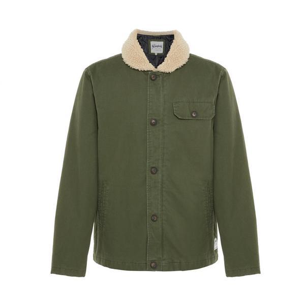 Olive Fleece Collar Canvas Stronghold Jacket
