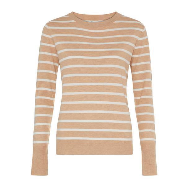 Beige Striped Soft Crew Neck Sweater