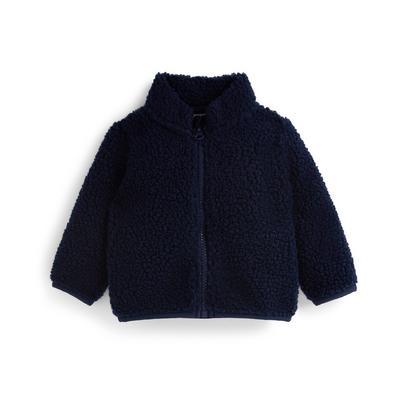 Baby Boy Navy Borg Zip Up Jacket