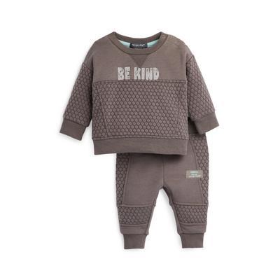 Baby Boy Grey Honeycomb Leisure Set