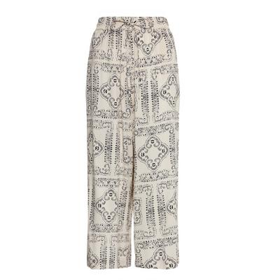 Tile Print Tie Waist Viscose Culottes